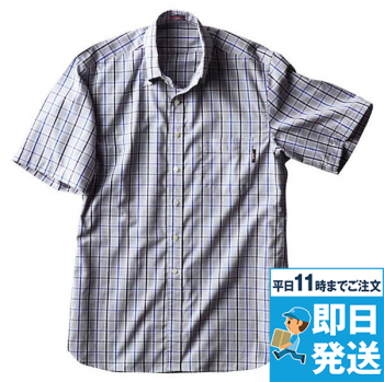 半袖メンズマルチチェックBDシャツAR