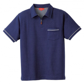 ジップ半袖ポロシャツ