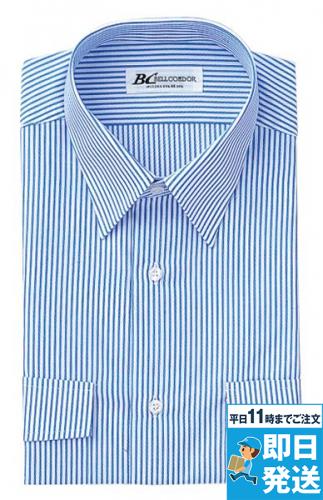 半袖ドビーストライプシャツ両胸フラップ付