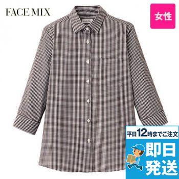 FB4043L FACEMIX セミワイドカラー七分袖ブラウス(女性用)