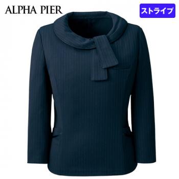 AR4886 アルファピア 七分袖プルオーバー ストライプ 40-AR4886