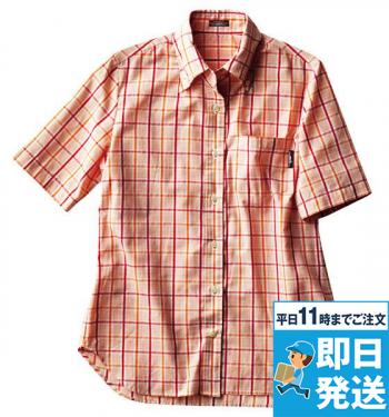 半袖レディースマルチチェックBDシャツA