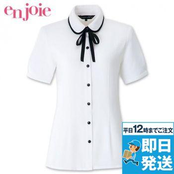 06072 en joie(アンジョア) 丸襟とリボンがカワイイ華やか半袖ブラウス(リボン付)