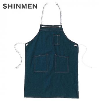 004 シンメン 胸当てデニムエプロン(