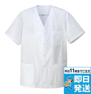 [アイトス]飲食 調理白衣 衿なし 半袖