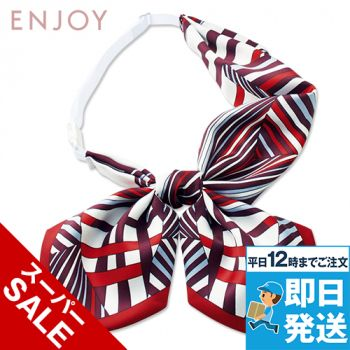 EAZ724 enjoy シャープな幾何学柄で凛としたクラシカルな印象のリボンスカーフ 98-EAZ724