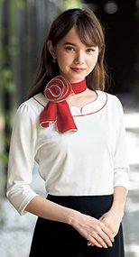 en joie(アンジョア) 01086 襟元の赤パイピングが引き締め効果のある七分袖カットソー 93-01086