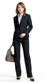 en joie(アンジョア) 71552 なめらかな風合いでウールタッチな肌触りのブーツカットパンツ 無地 93-71552