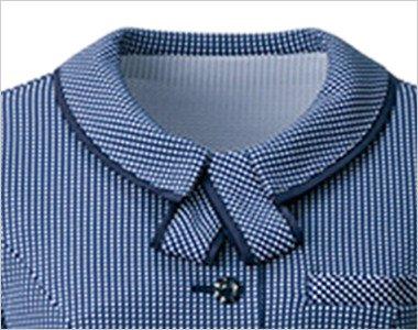 取り外し可能なリボン付の襟元(左右ブローチ用タブ付き)