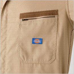 両胸ファスナー仕様ポケット(左胸ロゴ付き)