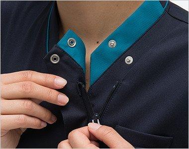 襟の内側はボタンとファスナー