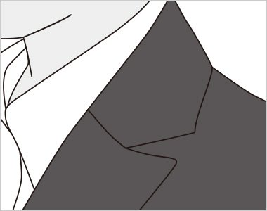上品な華やぎを与えるセミピークドラペルの襟元