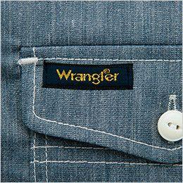 AZ64437 Wrangler(ラングラー) 半袖シャツ(男女兼用) ポケット部の補強とアクセント兼ねた配色カン止め