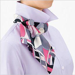 RB4156 BONMAX/リサール リーズナブルな長袖ブラウス スカーフループ付き 後ろ部分のスカーフを前に持ってきて、立てていた衿を戻し、整えて完成