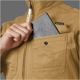 バートル 1711 [春夏用]T/Cライトチノ長袖ジャケット(男女兼用) レベルブック収納ポケット付き(深さ21cm)