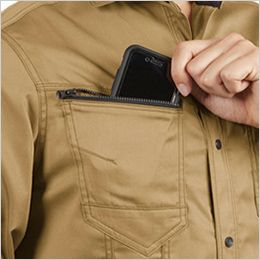 バートル 1715 T/Cライトチノ長袖シャツ(男女兼用) ファスナー付きポケット