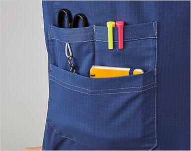 MZ-0157 ミズノ(mizuno) スクラブ(男女兼用) 上下の二段ポケットは、はさみ・ペン・メモ帳などが収納でき、ゴムループ付きです。