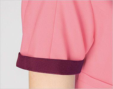 7023SC FOLK(フォーク) レディス ジップスクラブ(女性用) 折り返して着られる袖デザイン。 袖口のインナーカラーがアクセントに。