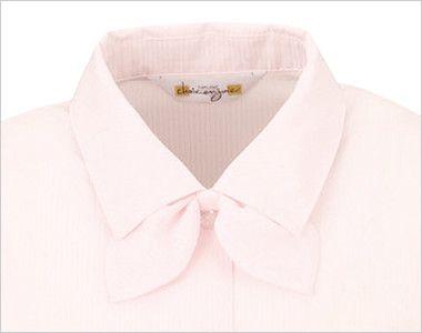 en joie(アンジョア) 01060 光沢のストライプがシャープで華やかな長袖ブラウス(リボン付) 衿元はショールカラーで、取外し出来る同じ生地のリボン