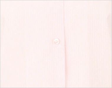 en joie(アンジョア) 01060 光沢のストライプがシャープで華やかな長袖ブラウス(リボン付) 前立部分はシンプルなボタン