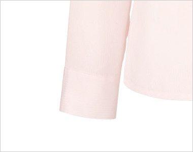 en joie(アンジョア) 01060 光沢のストライプがシャープで華やかな長袖ブラウス(リボン付) 耐久性ある袖口