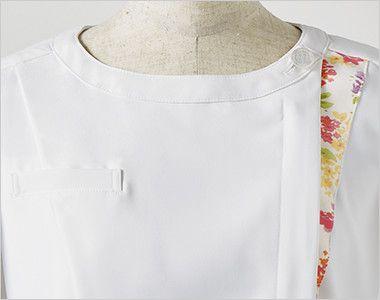 LW601 ローラアシュレイ 半袖ナースジャケット(女性用) アシンメトリーの配色がアクセント