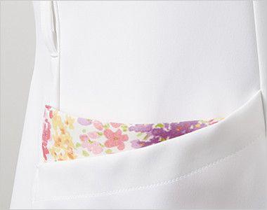 LW601 ローラアシュレイ 半袖ナースジャケット(女性用) ウエストループと配色が印象的なポケット