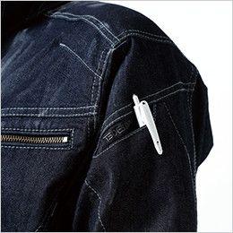 5115 TS DESIGN 綿100%ソフトチノクロス&ストレッチデニム長袖シャツ(男女兼用) マルチスリーブポケット仕様