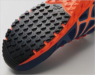 ジーベック 85142 耐滑セフティシューズ スチール先芯 滑りにくさを考慮した靴底意匠と耐滑性のよい配合のラバーで滑りやすい職場での事故を防ぎます。
