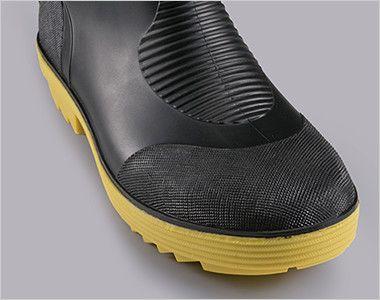 ジーベック 85763 ショート丈安全長靴 パーツの貼り合わせがないPVCインジェクション製法(射出成型)での成型なので水漏れの心配がありません。