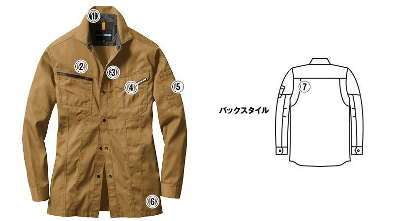 バートル 1715 T/Cライトチノ長袖シャツ(男女兼用) 商品詳細・こだわりPOINT