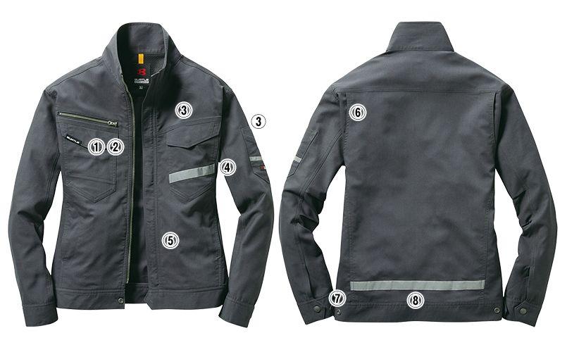 バートル 9091 [春夏用]ストレッチ長袖ジャケット(男女兼用) 商品詳細・こだわりPOINT