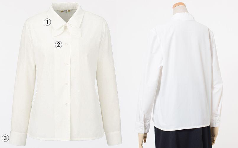 en joie(アンジョア) 01060 光沢のストライプがシャープで華やかな長袖ブラウス(リボン付) 商品詳細・こだわりPOINT