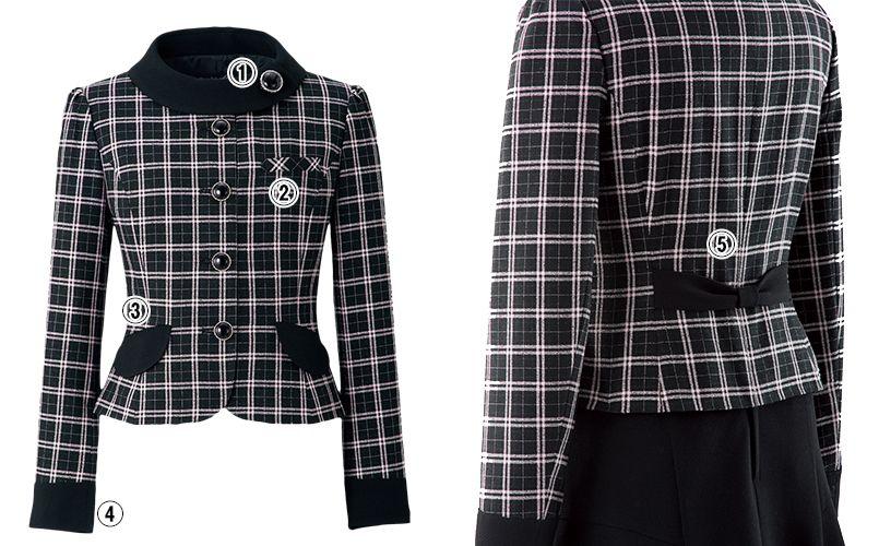 en joie(アンジョア) 81610 [通年]明るいチェックを襟やポケットのブラックでひきしめたジャケット チェック 商品詳細・こだわりPOINT