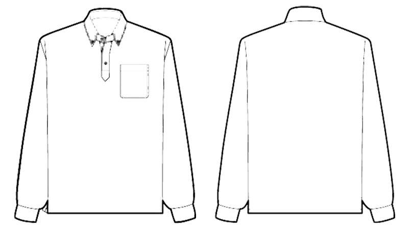 AZ10598 アイトス ドライボタンダウンポロシャツ長袖 ハンガーイラスト・線画