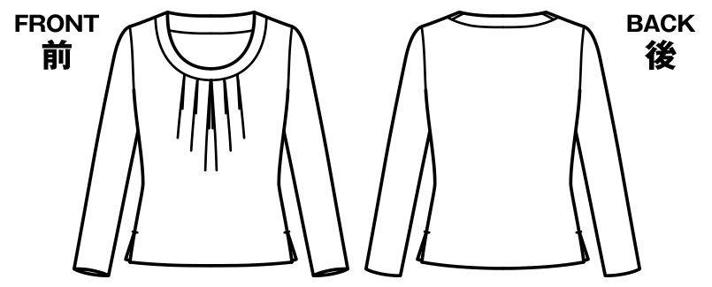 BONMAX KK7502 [通年]アミーザ 胸元タック切替え長袖ニット ハンガーイラスト・線画