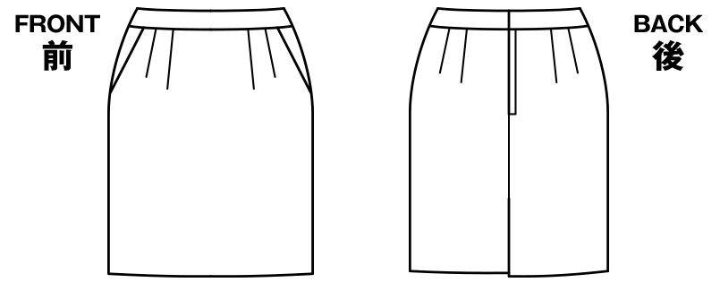 BONMAX LS2192 [通年]エミュ ペッパーツイード素材のタイトスカート 無地 ハンガーイラスト・線画