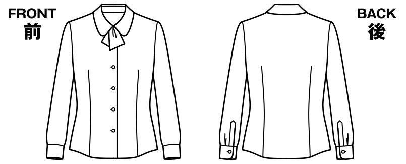 RB4154 BONMAX/リサール パウダリーな風合いで優しい肌触りの長袖ニットブラウス(リボン付き) ハンガーイラスト・線画