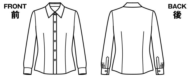 RB4156 BONMAX/リサール リーズナブルな長袖ブラウス スカーフループ付き ハンガーイラスト・線画