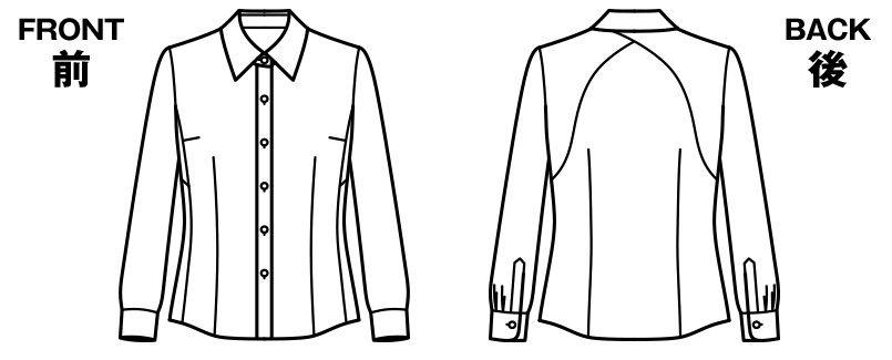 RB4157 BONMAX/リサール もっと!すごいブラウス 着用時のストレスを軽減する長袖ブラウス ハンガーイラスト・線画
