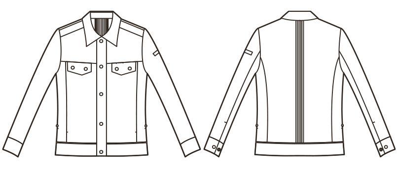 RJ0303 ROCKY レディースバックプリーツブルゾン(女性用) ハンガーイラスト・線画