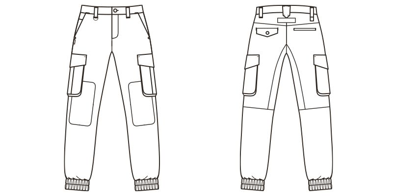 RP6905 ROCKY デニムジョガーカーゴパンツ(男女兼用) ハンガーイラスト・線画