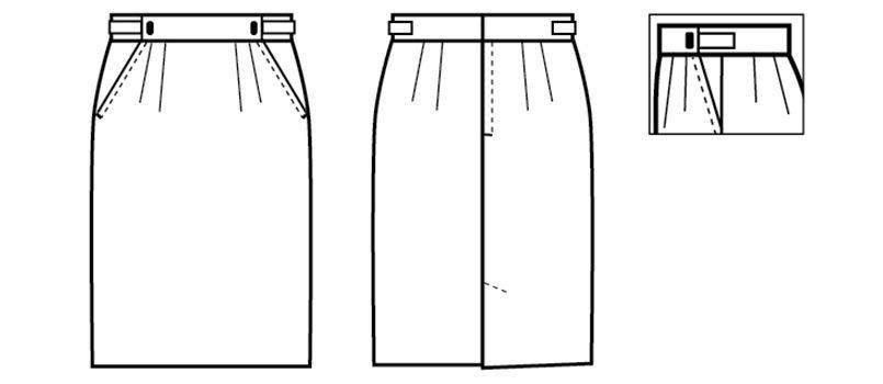 12201 BONUNI(ボストン商会) アジャスタースカート(女性用) ハンガーイラスト・線画