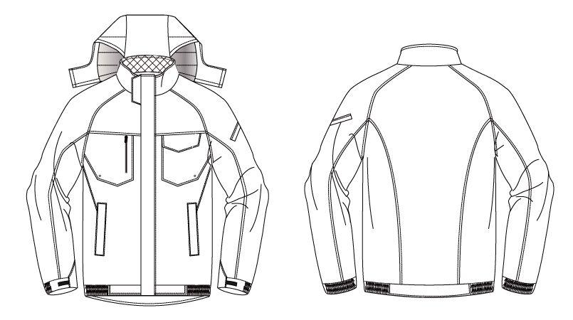バートル 7210 サーモトロン防寒ブルゾン(大型フード付)(男女兼用) ハンガーイラスト・線画