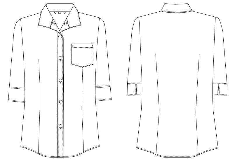 BL-6816 チトセ(アルベ) ブラウス/七分袖(女性用) ハンガーイラスト・線画