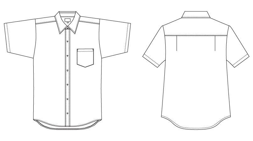 EP-5963 チトセ(アルベ) ブロードシャツ/半袖(男女兼用)レギュラーカラー ハンガーイラスト・線画