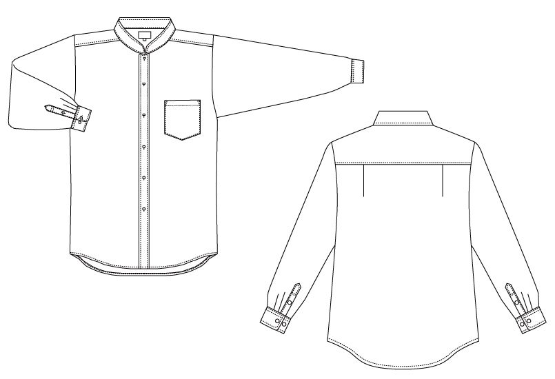 EP-6839 チトセ(アルベ) ブロードシャツ/長袖(男女兼用)スタンドカラー ハンガーイラスト・線画