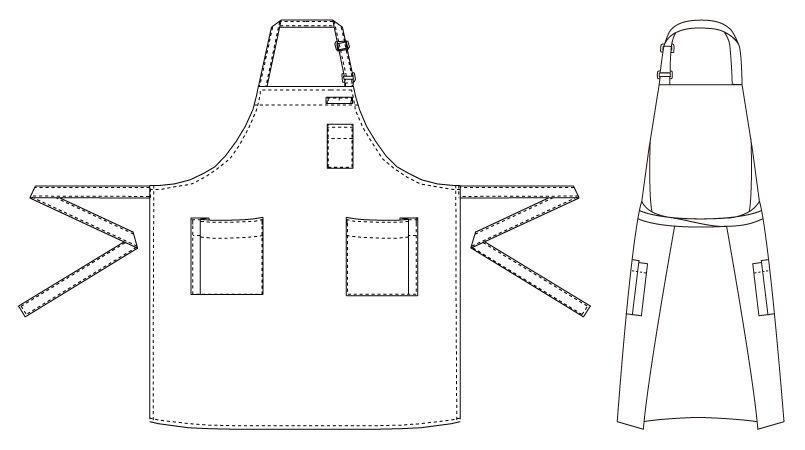 T-8091 チトセ(アルベ) 胸当てエプロン(男女兼用) ハンガーイラスト・線画