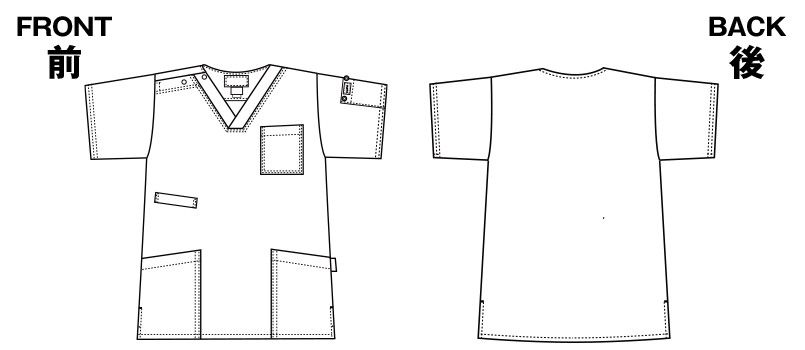 7033SC FOLK(フォーク)×Dickies スクラブ(男女兼用) ハンガーイラスト・線画