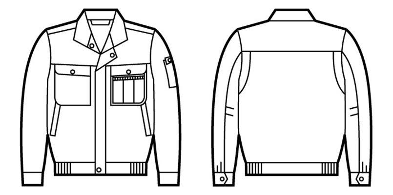 自重堂 41600 綿100%長袖ブルゾン ハンガーイラスト・線画